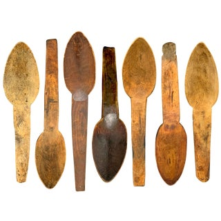 Early 20th Century Hand-Carved Moroccan Spoons - Set of 7 For Sale
