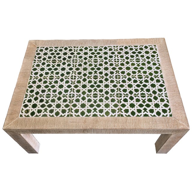 Mid-Century Combed Wood And Tile Cocktail Table - Image 2 of 7