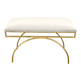 Modern Gold Metal Bench With Pale Blue Velvet Upholstery For Sale
