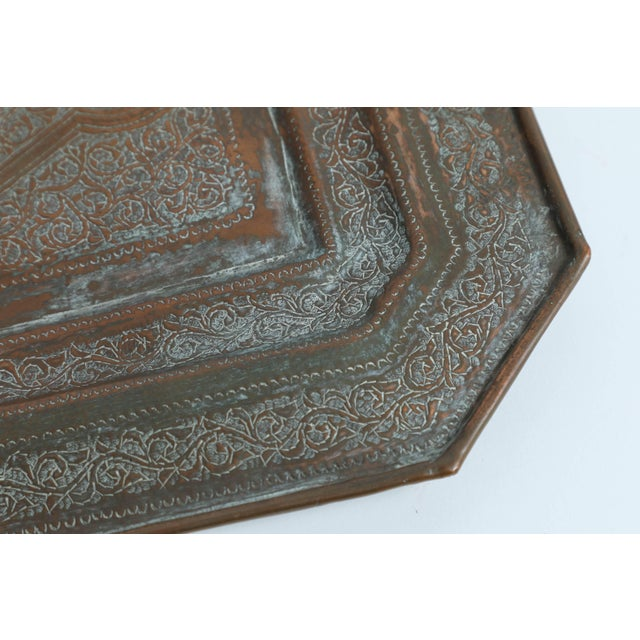 Middle Eastern octagonal Persian copper serving charger. Hand-hammered copper tray with very fine Moorish designs.