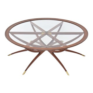 Italian Modern Mahogany, Brass and Glass Low Table, Carlo de Carli For Sale