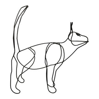 Lifetime Vintage Wireframe Cat Sculpture For Sale
