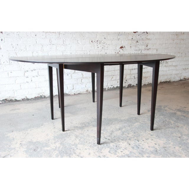 Contemporary Edward Wormley for Dunbar Mid-Century Walnut Oval Drop-Leaf Dining Table For Sale - Image 3 of 13