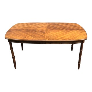 Stanley Furniture Wood Faux Bamboo Dining Table For Sale
