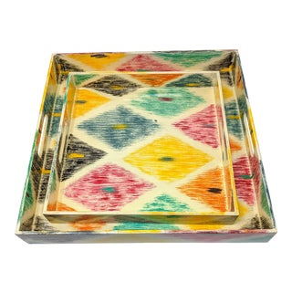 Hand Painted Nested Trays - Set of Two (2) For Sale