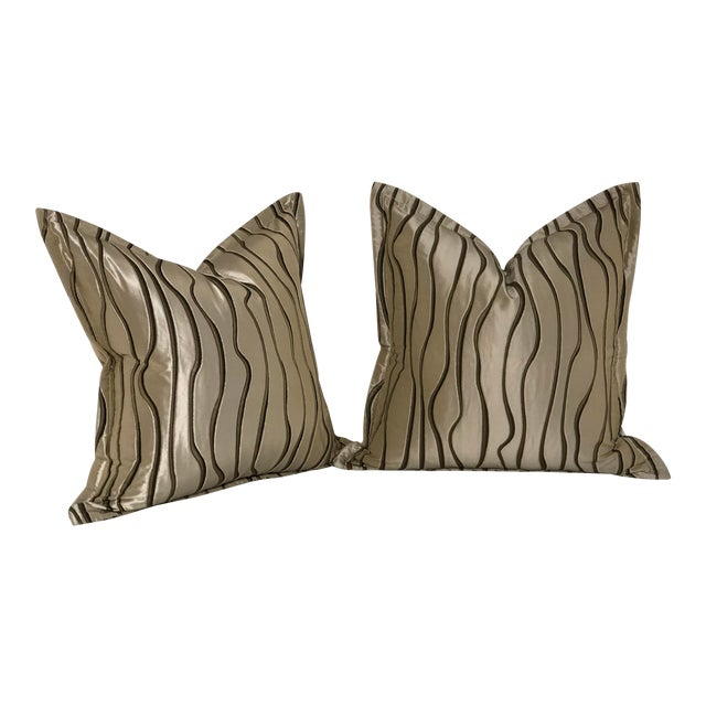 "Pair of 20"" Square Jim Thompson Pillows For Sale"