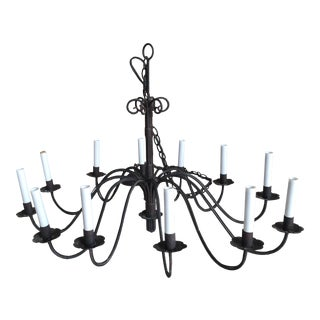 Wrought Iron Italian Chandelier For Sale