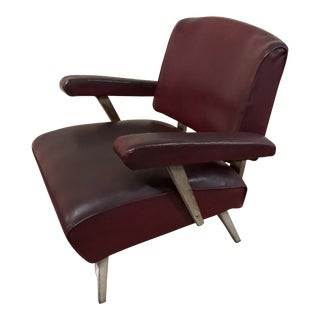 Mid Century Modern Burgundy Vinyl Lounge Chair For Sale