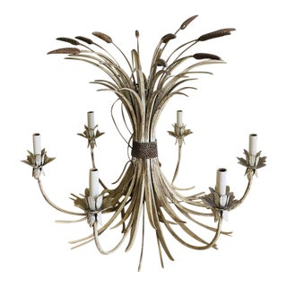 Tole Wheat Sheaf Chandelier For Sale
