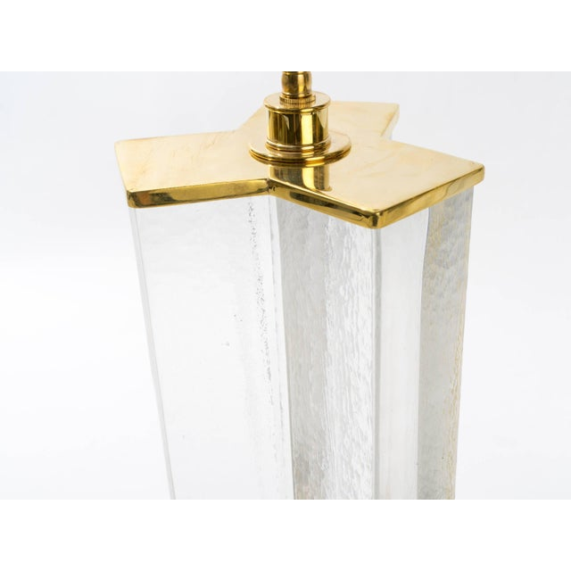 Cast Textured Glass Column Table Lamps For Sale In New York - Image 6 of 8
