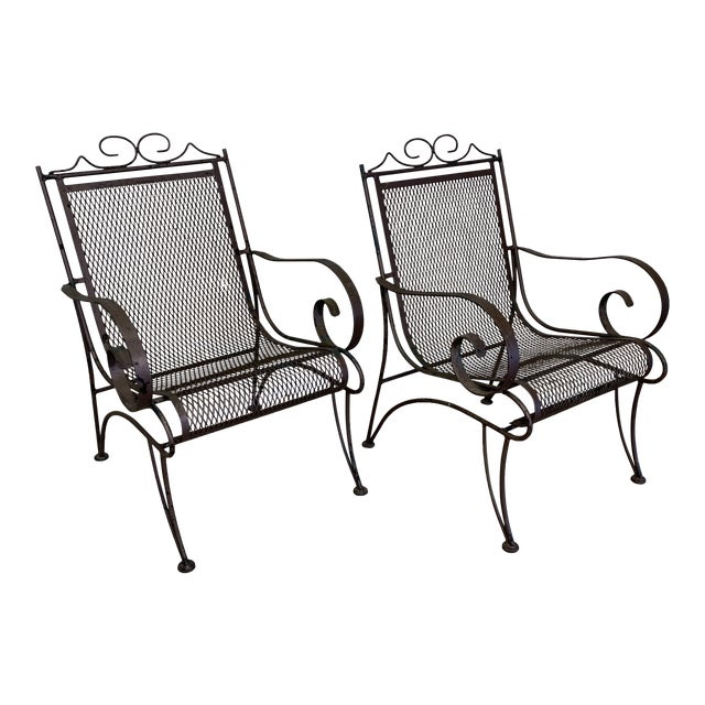 Vintage Iron Patio Chairs - a Pair For Sale