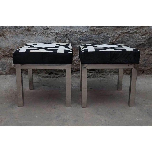 Moroccan Style Cowhide Ottomans -A Pair For Sale - Image 4 of 7