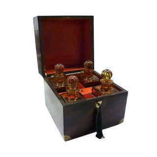 Late 19th Century Vintage English Mahogany Decanter Box & Decanters- 5 Pieces For Sale