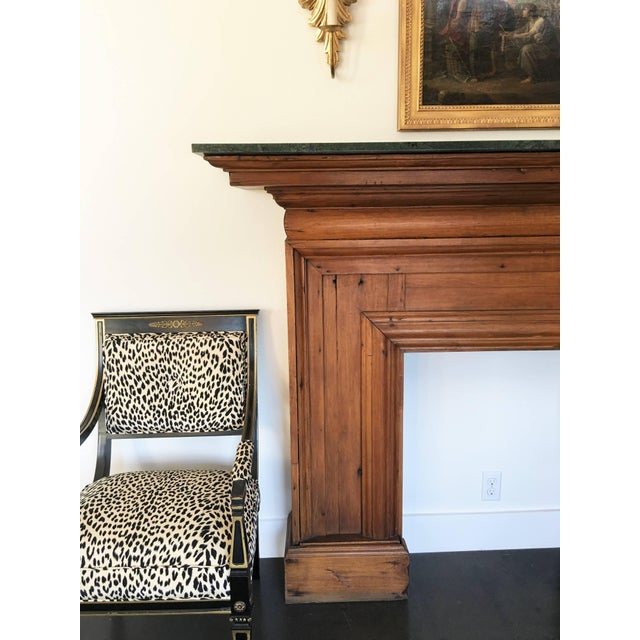 Antique Mahogany Fireplace Mantel With Green Marble Top For Sale - Image 4 of 9