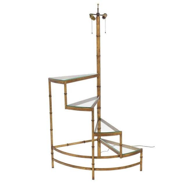 Mid-Century Modern Mid-Century Modern Step Shelves Faux Bamboo Gilt Base Floor Lamp For Sale - Image 3 of 10