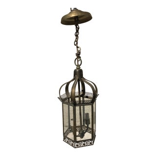 Antique Brass Hanging Lantern For Sale