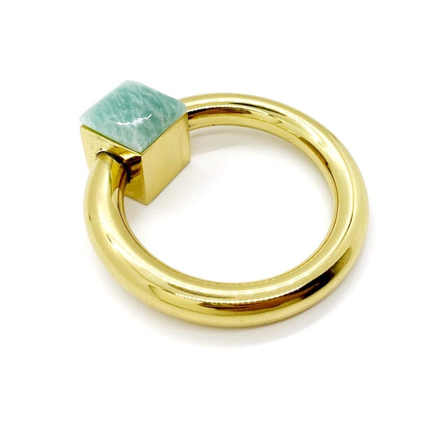 Traditional Addison Weeks Porter RIng Pull, Brass & Amazonite - a Pair For Sale - Image 3 of 5
