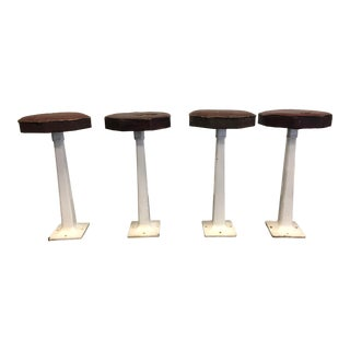 Vintage 1940s Enameled Cast Iron Ice Cream Parlor Stools - Set of 4 For Sale