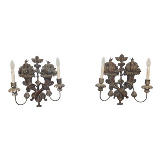 Pair Antique 18th Century Carved Wood Italian Baroque Hanging Wall Sconces For Sale