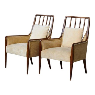 Pair of Mid-Century High Back Walnut Lounge Chairs For Sale