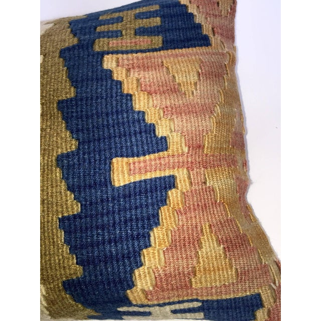 Blue & Brown Handmade Turkish Kilim Pillow Cover - Image 4 of 5