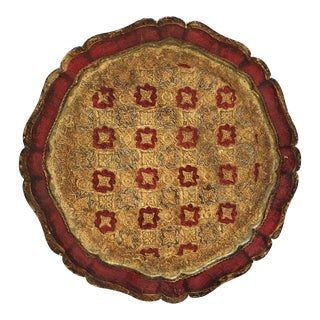 Vintage Italian Red Florentine Tray Tole Style For Sale