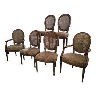 Louis XVI Style Henredon Cane Dining Chairs - Set of 6 For Sale