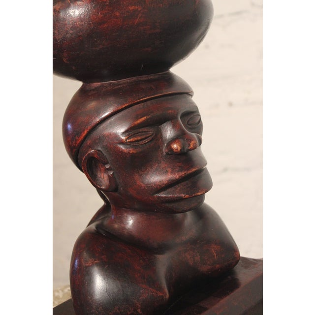 Tribal Ironwood Hand-Carved Woman's Bust - Image 4 of 8