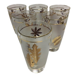 Libbey Frosted Gold Leaf Tumblers - Set of 6