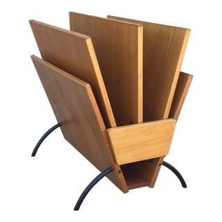 Danish Modern Teak Double Magazine Rack by Fbj Mobler For Sale