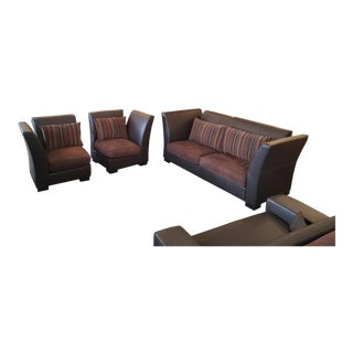 Fendi Brown Leather Sofa Set: Sofa & 2 Chairs For Sale