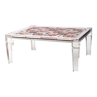 1940s French Mosaic and Lucite Coffee Table, Attributed to Maison Jansen For Sale