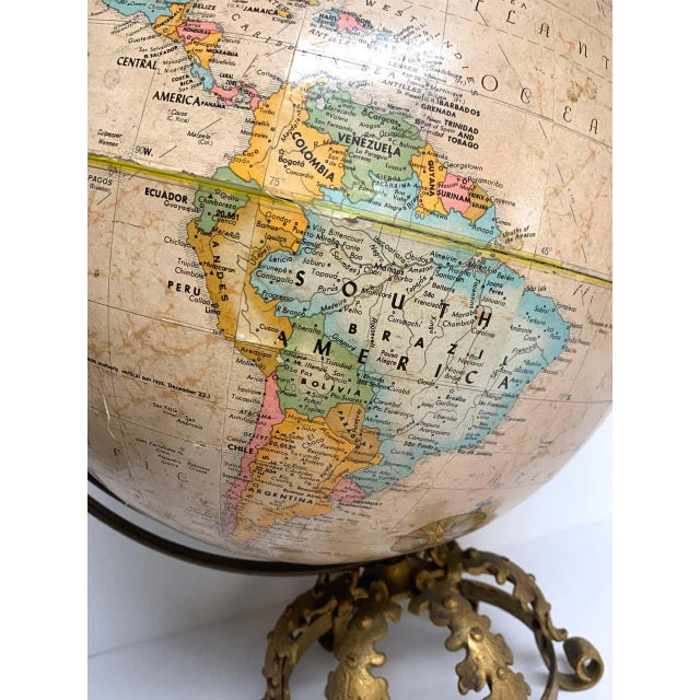 Art Deco Pre Wwii Globe on Art Deco Wrought Iron Stand by Repogle For Sale - Image 3 of 13