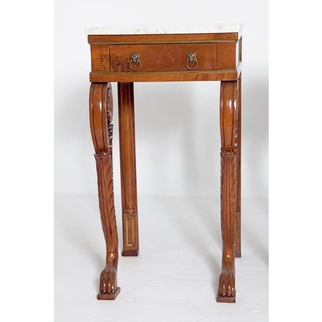 Traditional A Pair of Charles X Style Mahogany Tables With White Marble Tops For Sale - Image 3 of 13