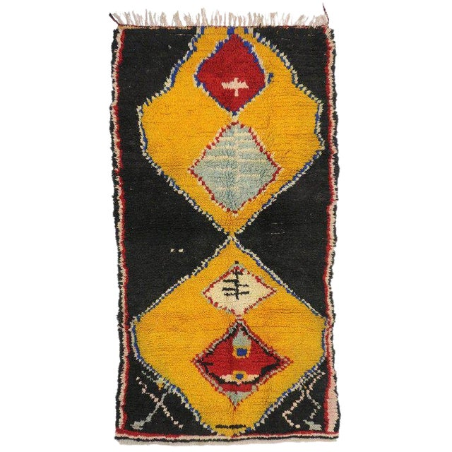 Late 20th Century Vintage Berber Moroccan Rug - 4′1″ × 7′10″ For Sale