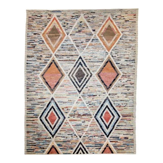 Modern Afghan Moroccan Style Rug With Tribal Diamonds on Colorful Field For Sale