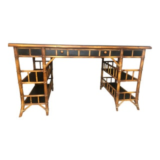 Chinoiserie Baker Furniture Company Bamboo Writing Desk For Sale