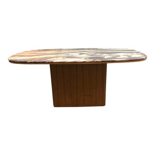 Danish Modern Marble Top Teak Dining Table