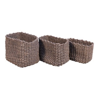Sarreid Ltd Nautical Sailors Rope Baskets - Set of 3 For Sale