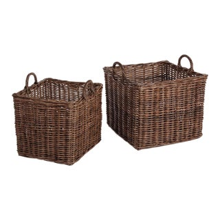 Normandy Square Baskets With Handles from Kenneth Ludwig Chicago - Pair For Sale