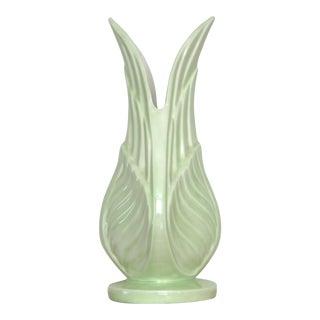 Vintage 1989 Green Leaf Ceramic Vase For Sale