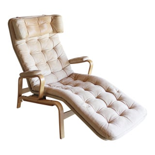 Rare Sam Larsson for Dux Swedish Reclining Leather Bentwood Birch Lounge Chair Style of Bruno Mathsson