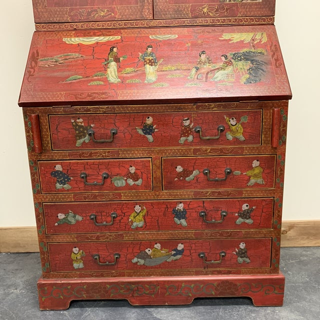 Asian 20th Century Chinoiserie Red Lacquered Bureau Bookcase For Sale - Image 3 of 13