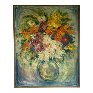 Mid 20th Century Floral Still Life Painting, Framed For Sale