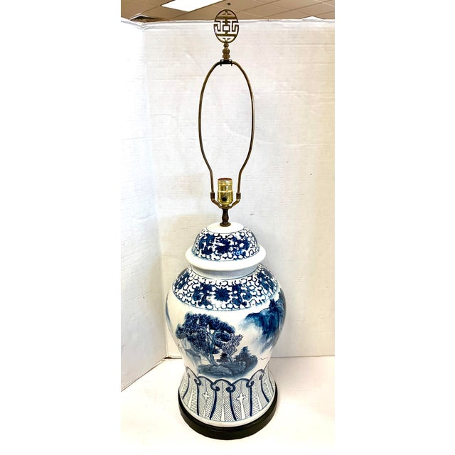 Chapman Blue and White Chinoiserie Porcelain Lamp With Finial For Sale - Image 10 of 10