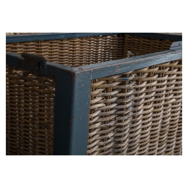 1920s Pair of Large French Industrial Wicker Baskets For Sale - Image 5 of 11