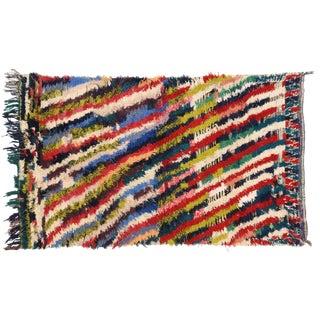 1990s Vintage Berber Tribes of Morocco Boucherouite Rug - 3′7″ × 5′11″ For Sale
