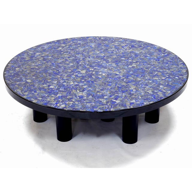 Metal Coffee Table With Lapis Lazuli, by Etienne Allemeersch, Circa 1975 For Sale - Image 7 of 7