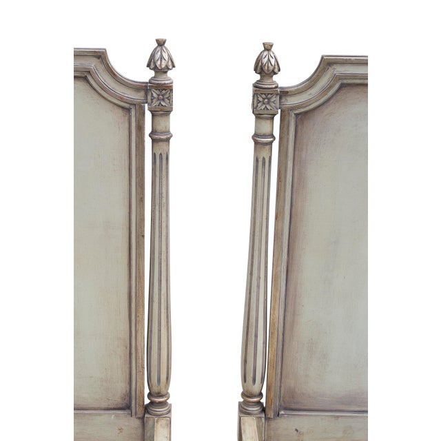 Pair of antique silvery grey-blue twin bed frames. These French-style, fluted bed frames have a very beautiful original...