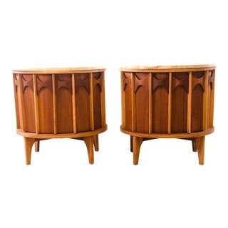1960s Kent Coffey Perspecta Marble Top End Tables, a Pair For Sale